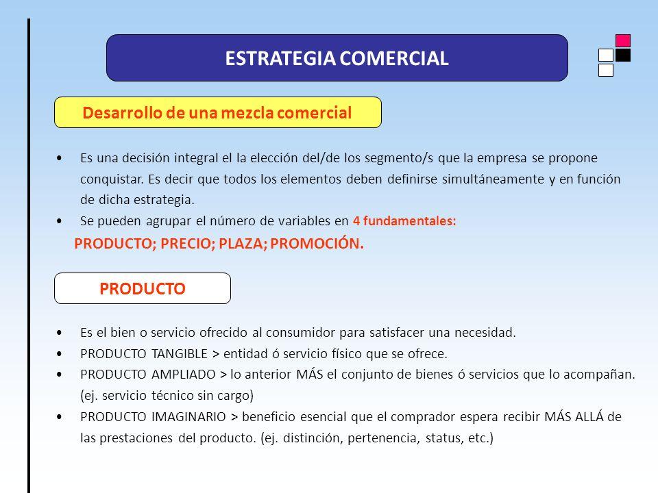 ESTRATEGIA COMERCIAL Es una decisión integral el la elección del/de los segmento/s que la empresa se propone conquistar. Es decir que todos los elemen
