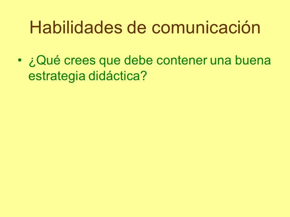 Habilidades de comunicación ¿Qué crees que debe contener una buena estrategia didáctica?