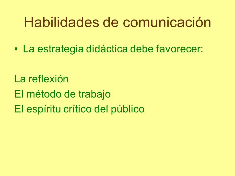 Habilidades de comunicación La estrategia didáctica debe favorecer: La reflexión El método de trabajo El espíritu crítico del público