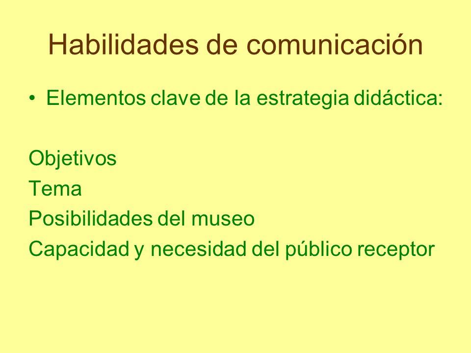 Habilidades de comunicación Elementos clave de la estrategia didáctica: Objetivos Tema Posibilidades del museo Capacidad y necesidad del público recep