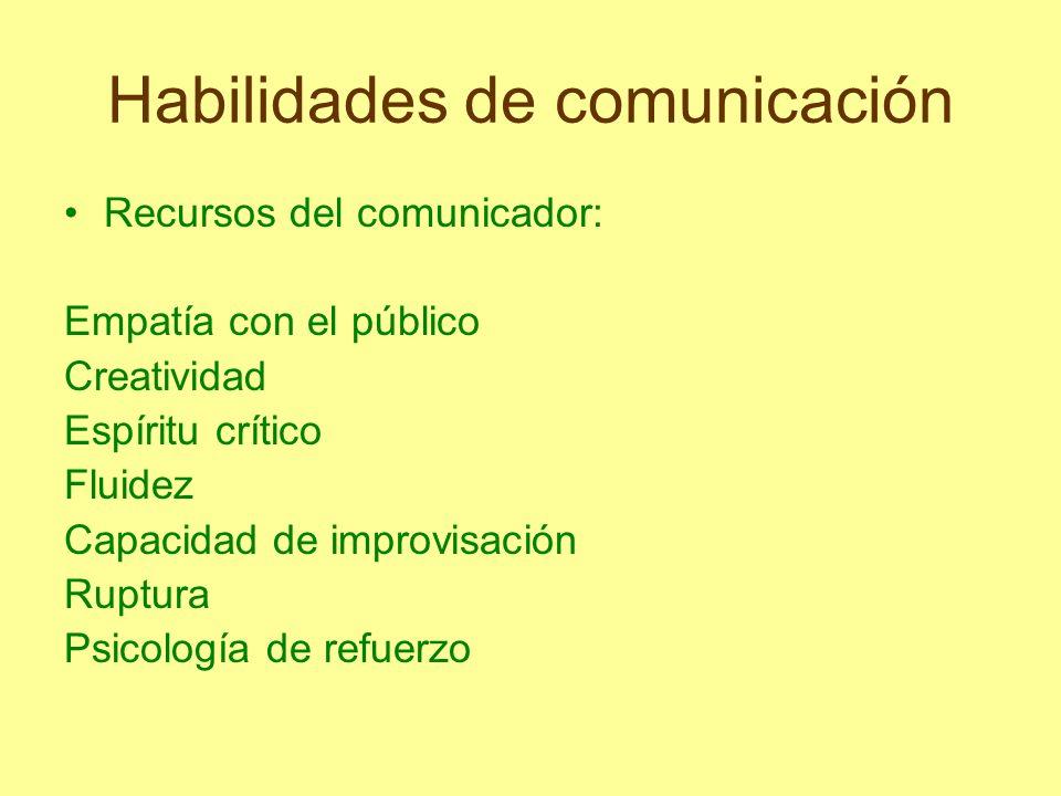 Habilidades de comunicación Recursos del comunicador: Empatía con el público Creatividad Espíritu crítico Fluidez Capacidad de improvisación Ruptura P