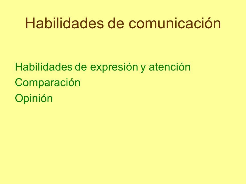 Habilidades de comunicación Habilidades de expresión y atención Comparación Opinión