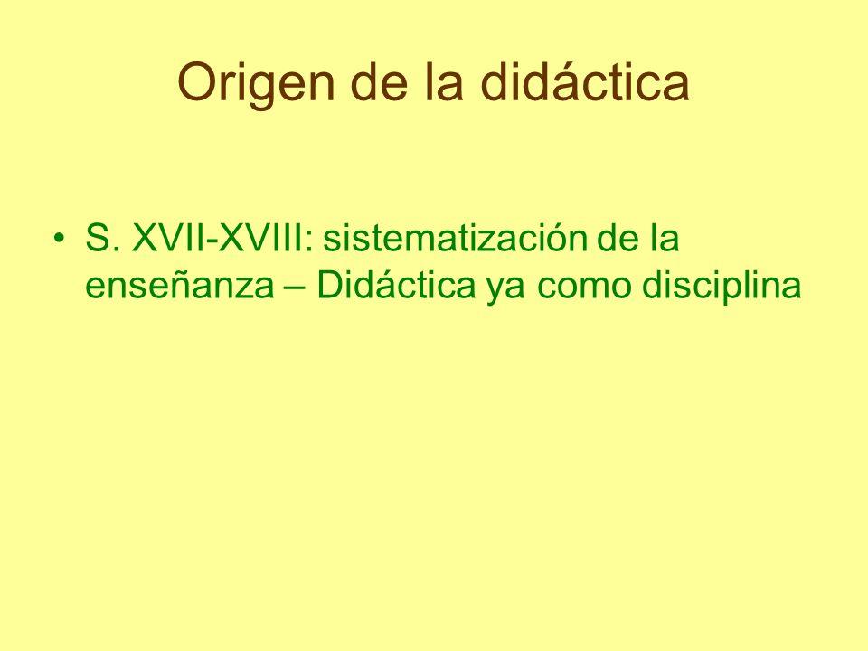 Origen de la didáctica Didáctica Magna de Comenius (1633-38) Artificio universal para enseñar todas las cosas a todos con rapidez, alegría y eficacia Enseñar a través de los objetos