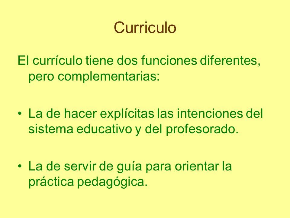 Curriculo El currículo tiene dos funciones diferentes, pero complementarias: La de hacer explícitas las intenciones del sistema educativo y del profes