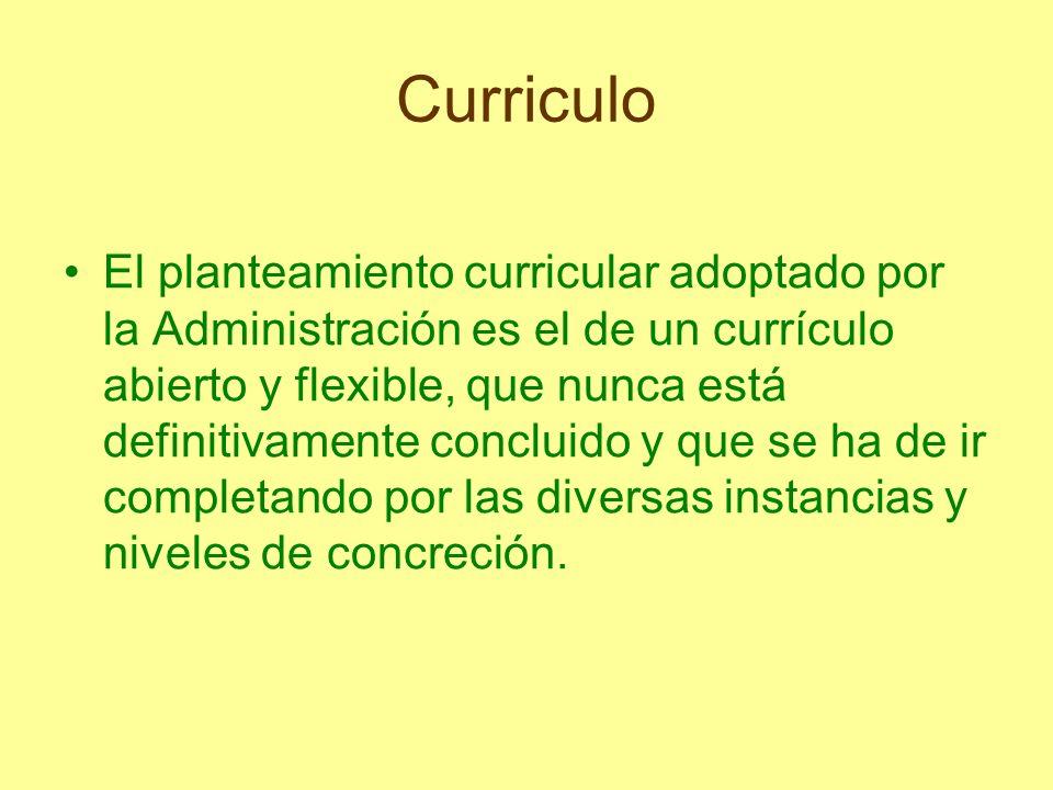 Curriculo Primer nivel de concreción: Es competencia de la Administración educativa y está formado por las llamadas propuestas curriculares de la Reforma, las cuales contienen pautas políticas, sociológicas y epistemológicas.