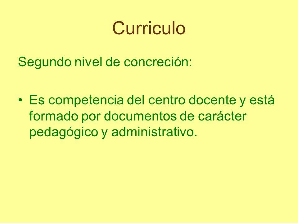 Curriculo Segundo nivel de concreción: Es competencia del centro docente y está formado por documentos de carácter pedagógico y administrativo.