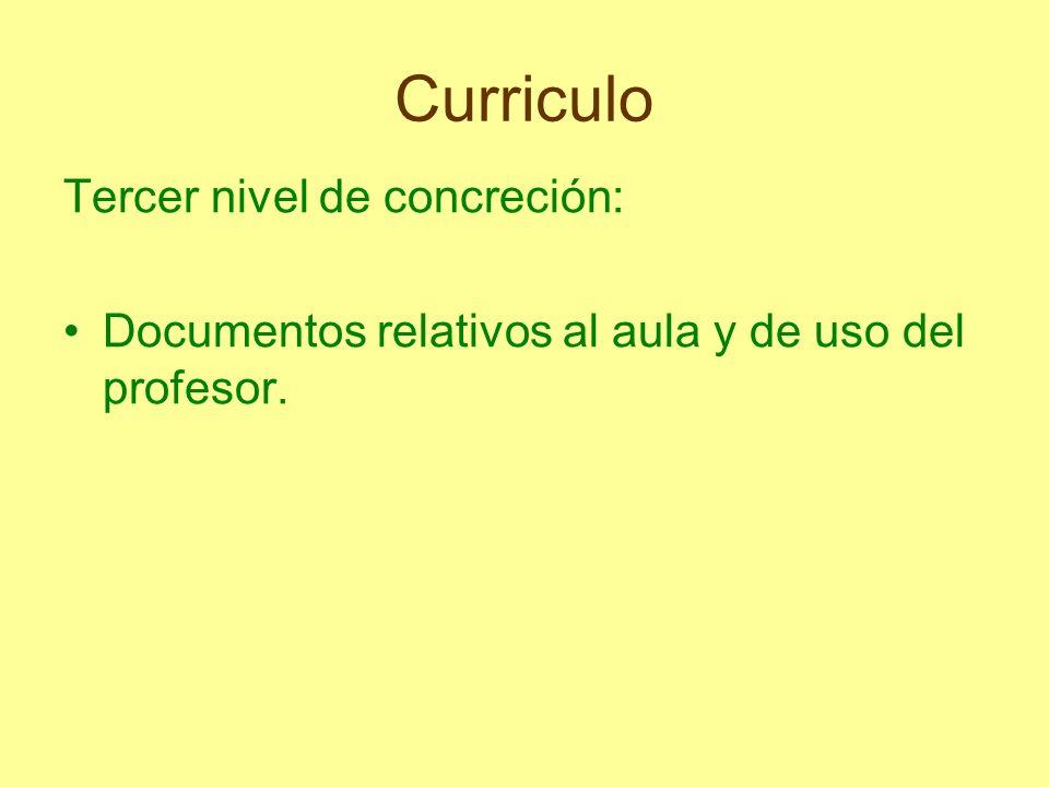Curriculo Consta de los siguientes documentos: Programación del Aula Unidad Didáctica Sesión Adaptación Curricular Individual