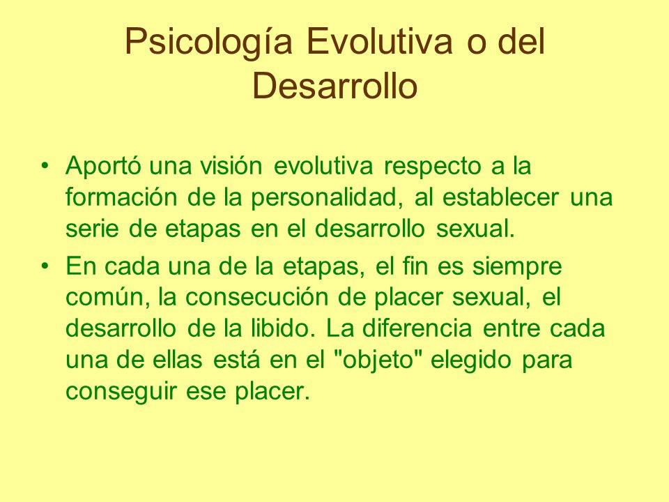 Psicología Evolutiva o del Desarrollo Aportó una visión evolutiva respecto a la formación de la personalidad, al establecer una serie de etapas en el