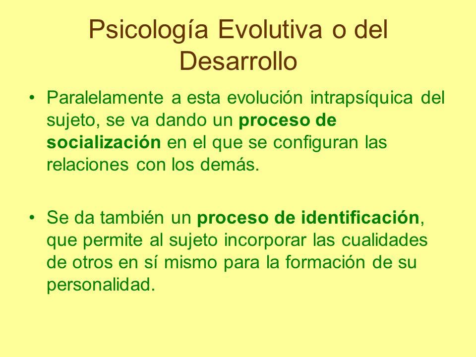 Psicología Evolutiva o del Desarrollo Paralelamente a esta evolución intrapsíquica del sujeto, se va dando un proceso de socialización en el que se co