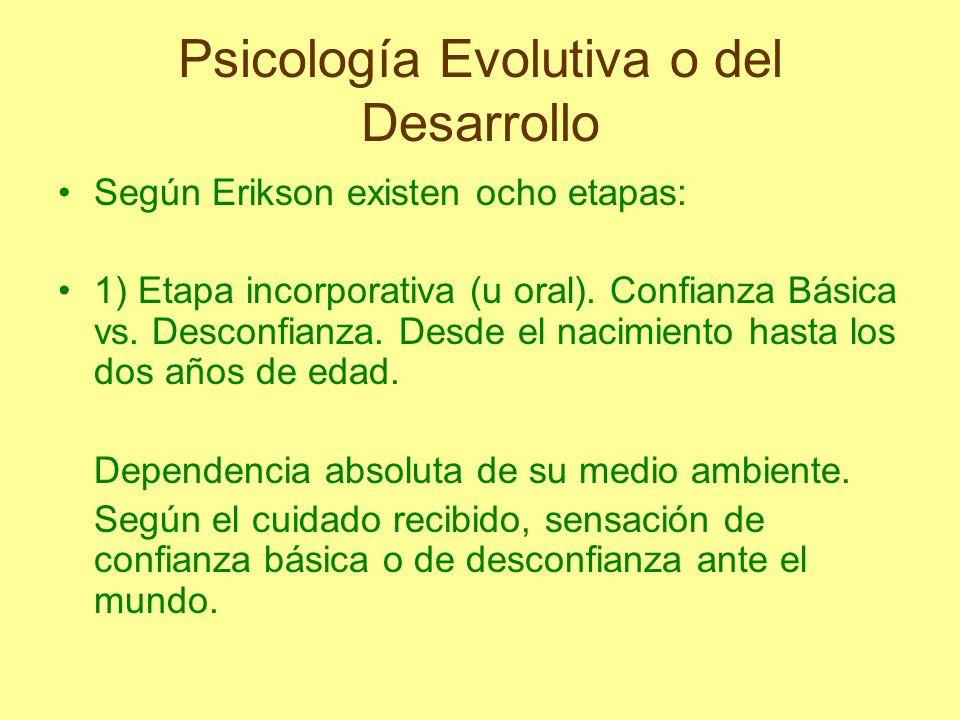 Según Erikson existen ocho etapas: 1) Etapa incorporativa (u oral). Confianza Básica vs. Desconfianza. Desde el nacimiento hasta los dos años de edad.