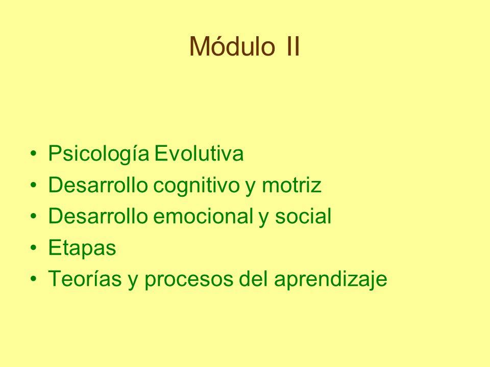 Módulo II Psicología Evolutiva Desarrollo cognitivo y motriz Desarrollo emocional y social Etapas Teorías y procesos del aprendizaje