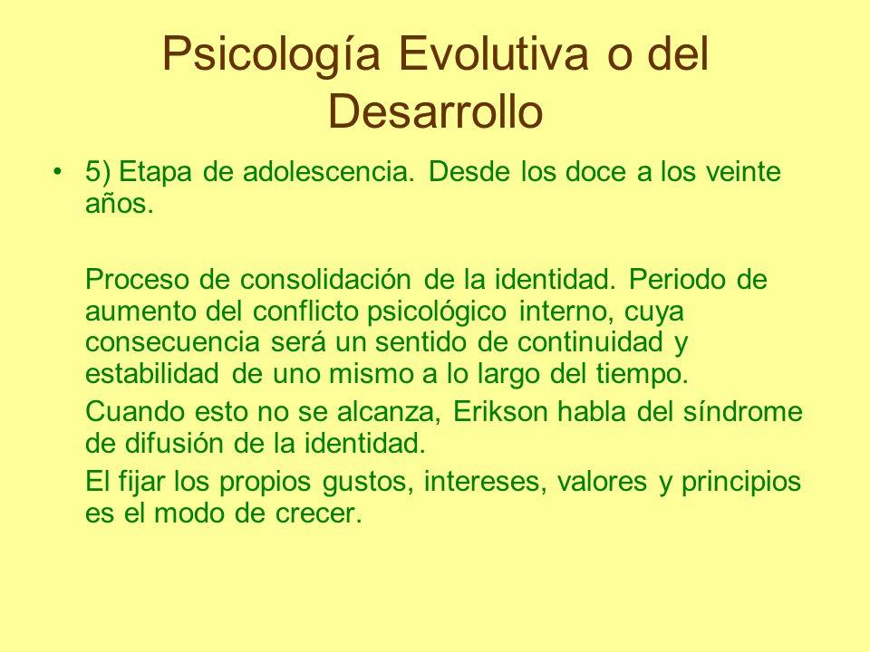 Psicología Evolutiva o del Desarrollo 5) Etapa de adolescencia. Desde los doce a los veinte años. Proceso de consolidación de la identidad. Periodo de