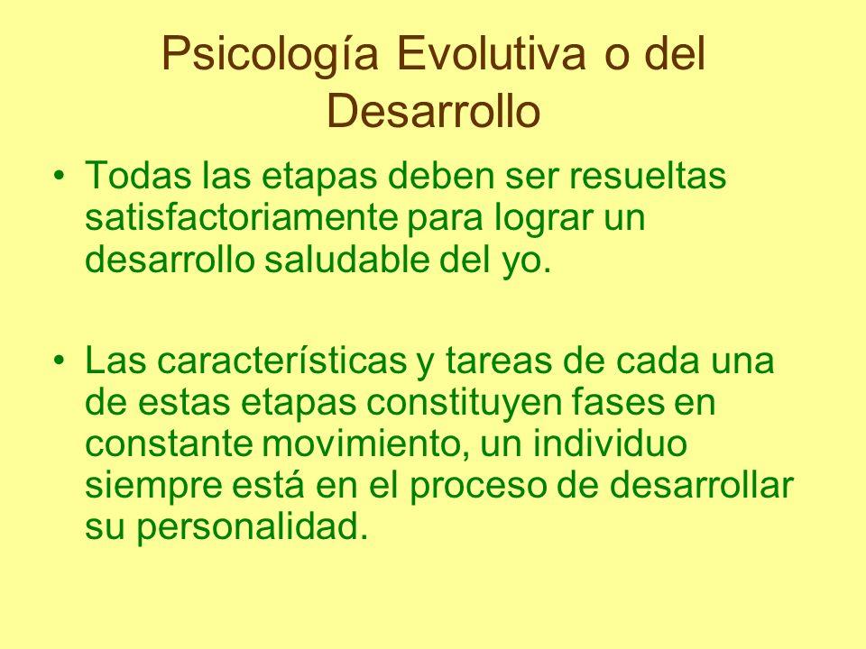 Psicología Evolutiva o del Desarrollo Todas las etapas deben ser resueltas satisfactoriamente para lograr un desarrollo saludable del yo. Las caracter