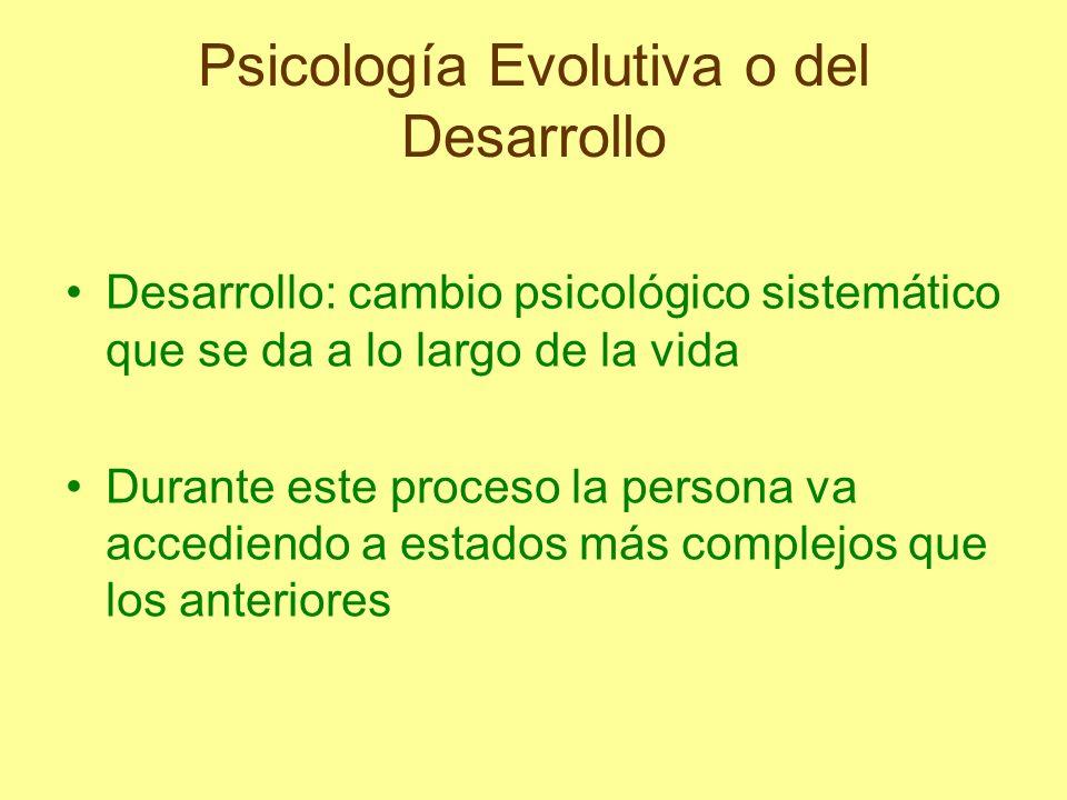 Psicología Evolutiva o del Desarrollo La psicología evolutiva se preocupa por los cambios que tienen lugar en la conducta y las habilidades que surgen al producirse los cambios durante la vida