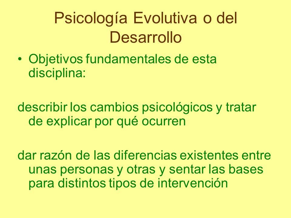 Psicología Evolutiva o del Desarrollo Objetivos fundamentales de esta disciplina: describir los cambios psicológicos y tratar de explicar por qué ocur