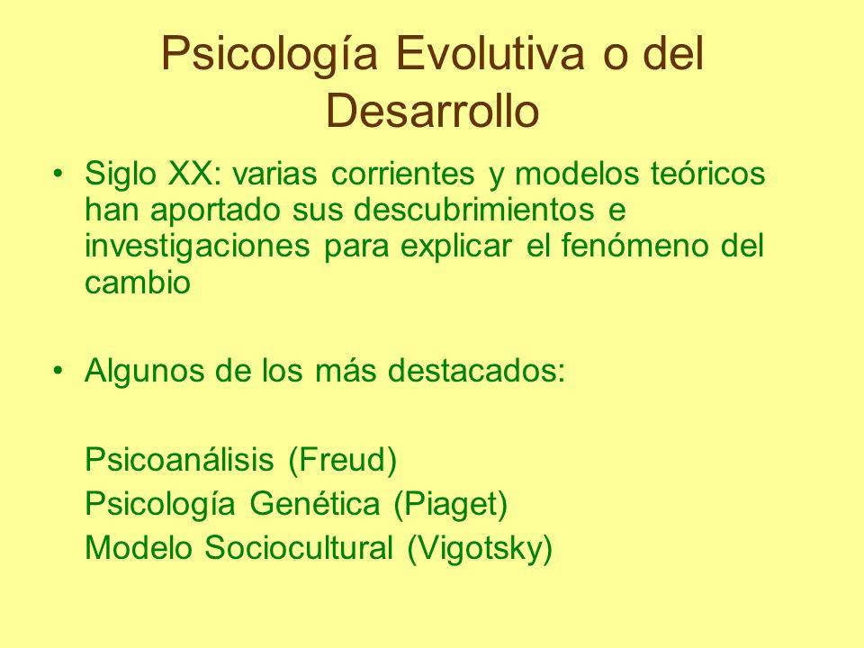 Psicología Evolutiva o del Desarrollo Siglo XX: varias corrientes y modelos teóricos han aportado sus descubrimientos e investigaciones para explicar