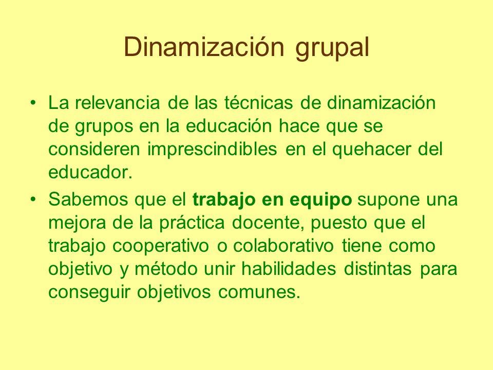 Dinamización grupal En definitiva, hay que resaltar que la actividad en grupo interrelaciona de tal manera que entre los propios compañeros se influyen más que lo que puede hacerlo el educador hacia cada uno de ellos.