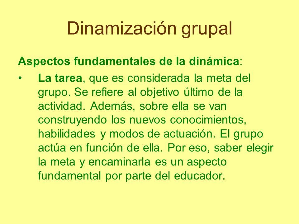 Dinamización grupal Aspectos fundamentales de la dinámica: La tarea, que es considerada la meta del grupo. Se refiere al objetivo último de la activid