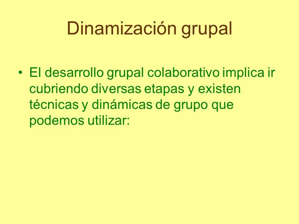 Dinamización grupal El desarrollo grupal colaborativo implica ir cubriendo diversas etapas y existen técnicas y dinámicas de grupo que podemos utiliza
