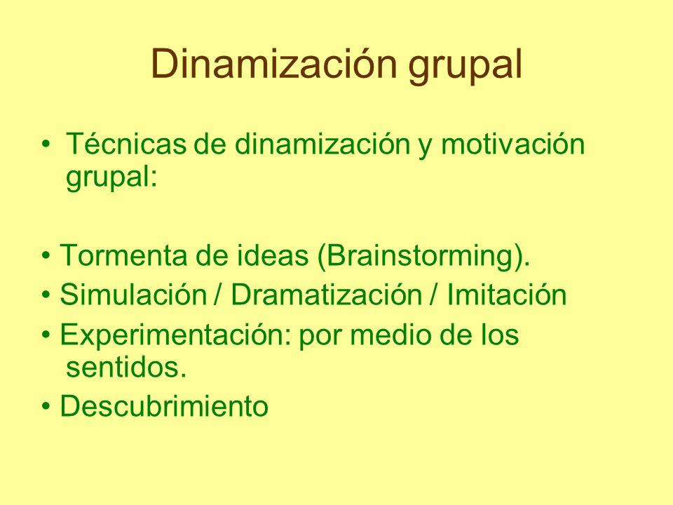 Dinamización grupal Técnicas de dinamización y motivación grupal: Tormenta de ideas (Brainstorming). Simulación / Dramatización / Imitación Experiment