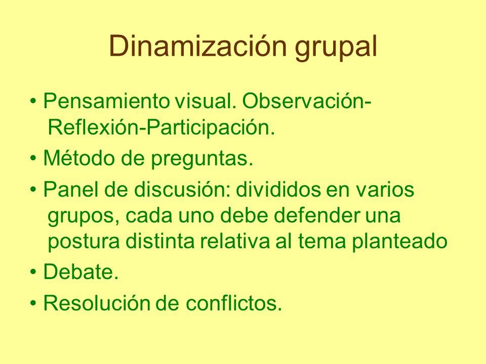 Dinamización grupal Pensamiento visual. Observación- Reflexión-Participación. Método de preguntas. Panel de discusión: divididos en varios grupos, cad