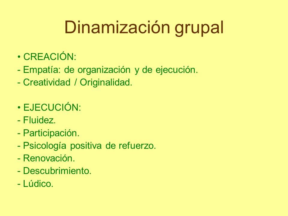 Dinamización grupal CREACIÓN: - Empatía: de organización y de ejecución. - Creatividad / Originalidad. EJECUCIÓN: - Fluidez. - Participación. - Psicol