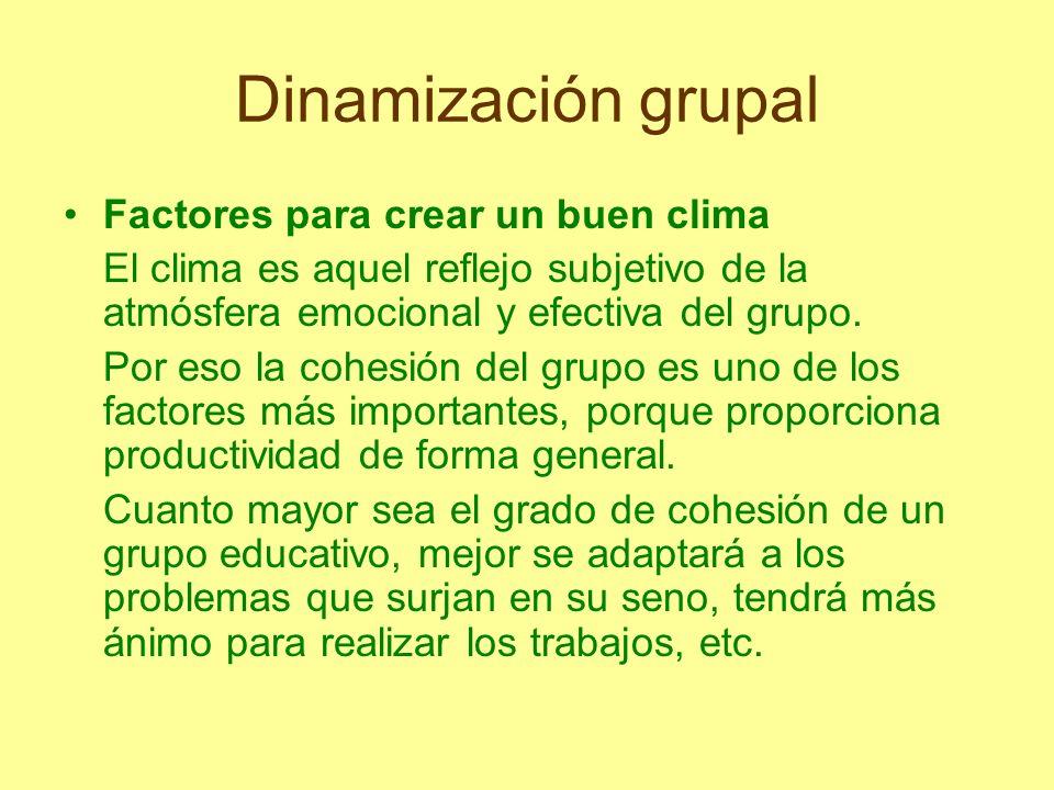Dinamización grupal Algunos factores que influyen en la cohesión del grupo son: -el grado de interacción, es decir, que los alumnos se relacionen mucho unos con otros y tengan una gran comunicación horizontal.
