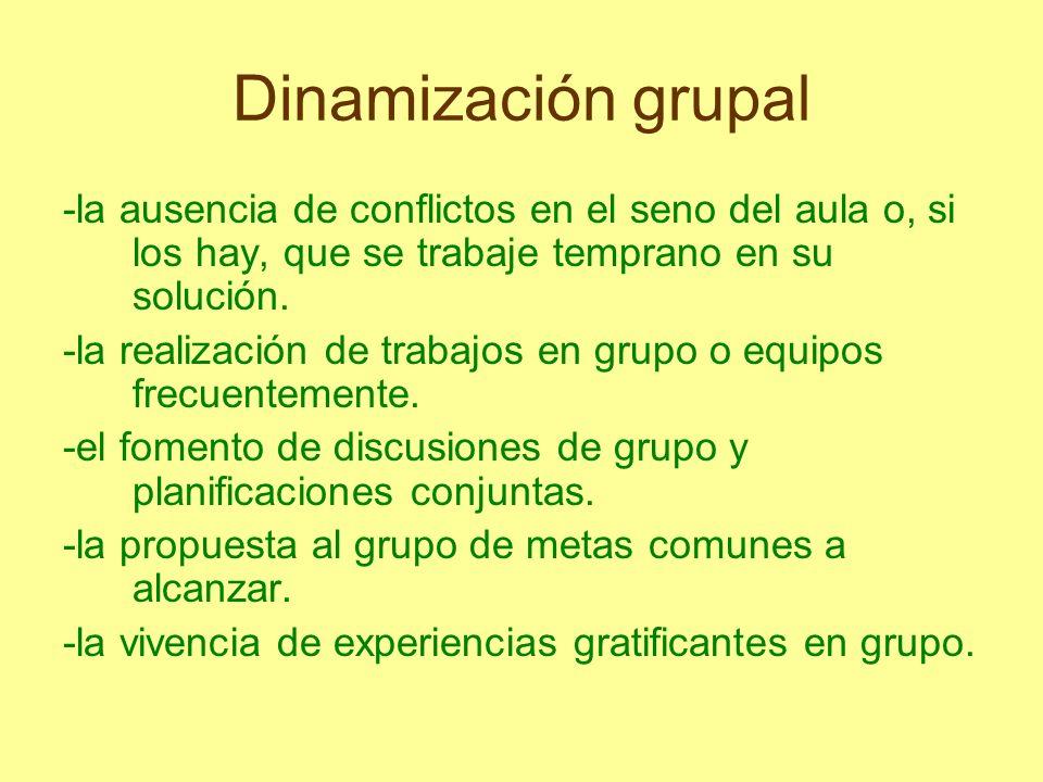 Dinamización grupal -la ausencia de conflictos en el seno del aula o, si los hay, que se trabaje temprano en su solución. -la realización de trabajos