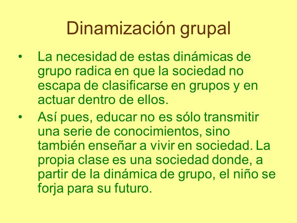 Dinamización grupal La necesidad de estas dinámicas de grupo radica en que la sociedad no escapa de clasificarse en grupos y en actuar dentro de ellos
