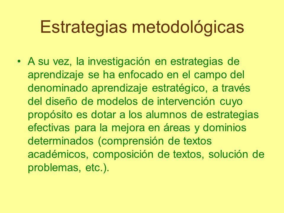 Estrategias metodológicas Ejemplo de estrategias de enseñanza: Objetivos: Enunciado que establece condiciones, tipo de actividad y forma de evaluación del aprendizaje del alumno.