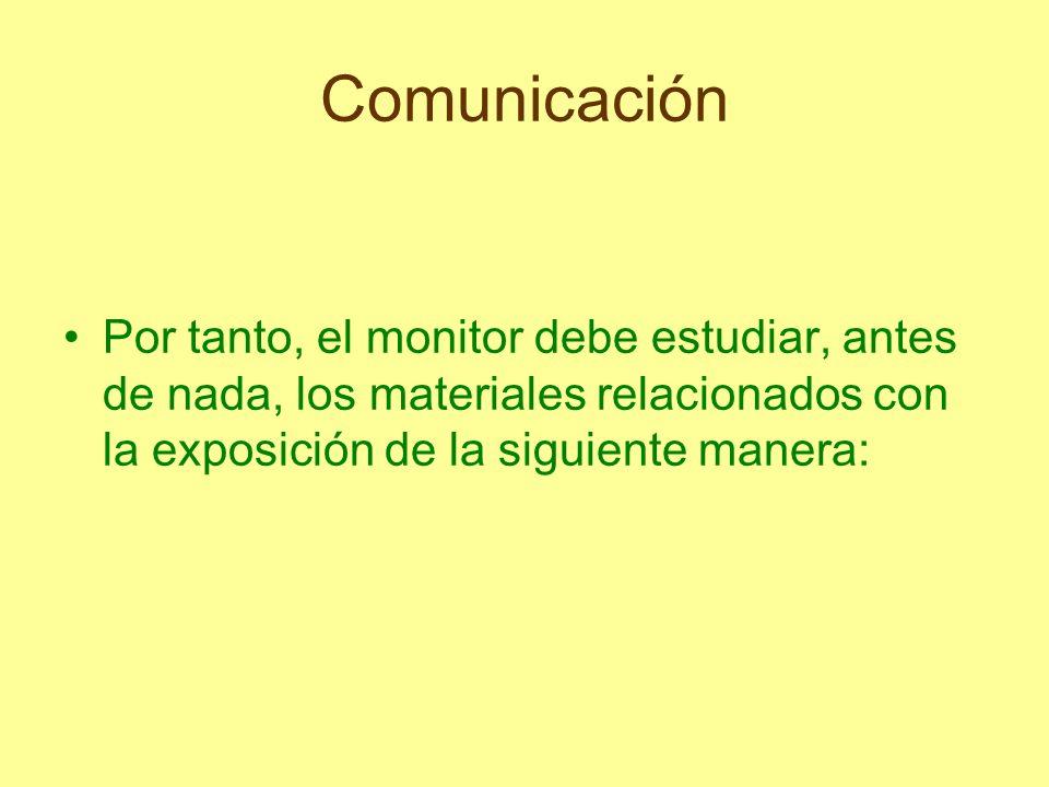 Comunicación Por tanto, el monitor debe estudiar, antes de nada, los materiales relacionados con la exposición de la siguiente manera: