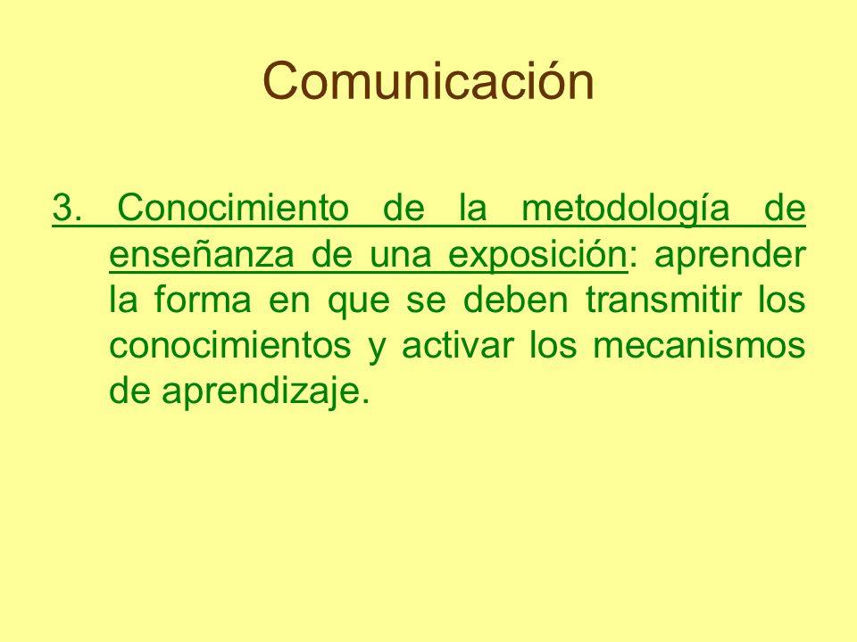 Comunicación 3. Conocimiento de la metodología de enseñanza de una exposición: aprender la forma en que se deben transmitir los conocimientos y activa