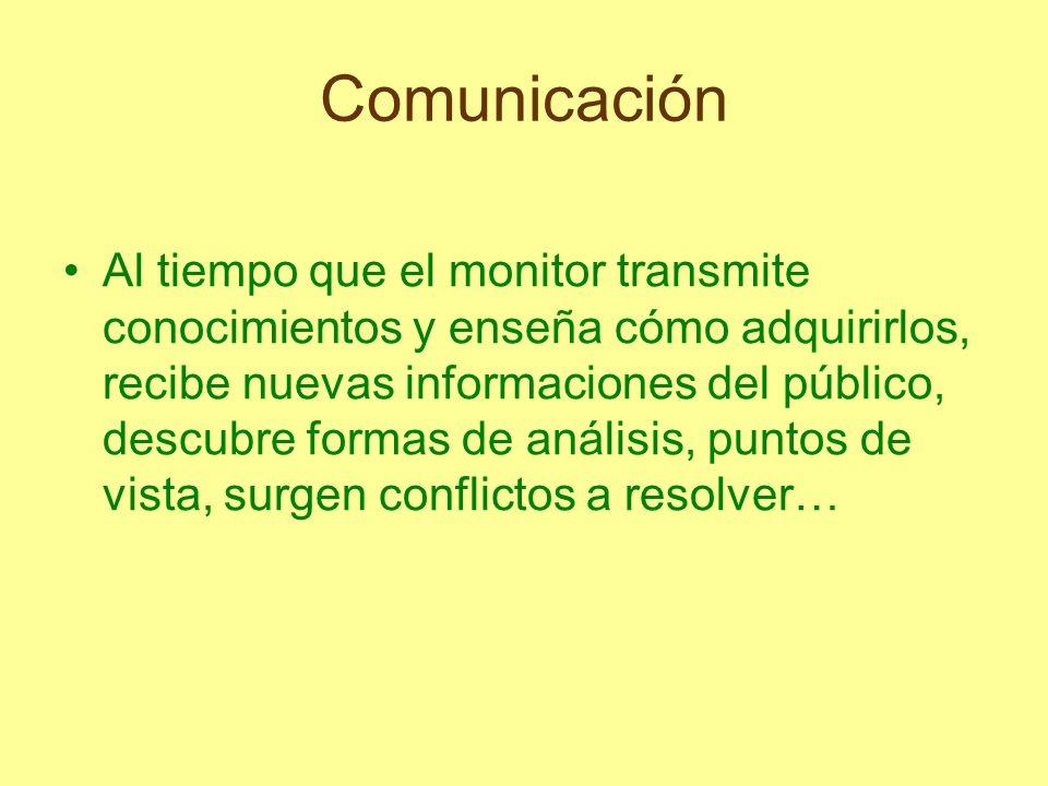Comunicación Al tiempo que el monitor transmite conocimientos y enseña cómo adquirirlos, recibe nuevas informaciones del público, descubre formas de a