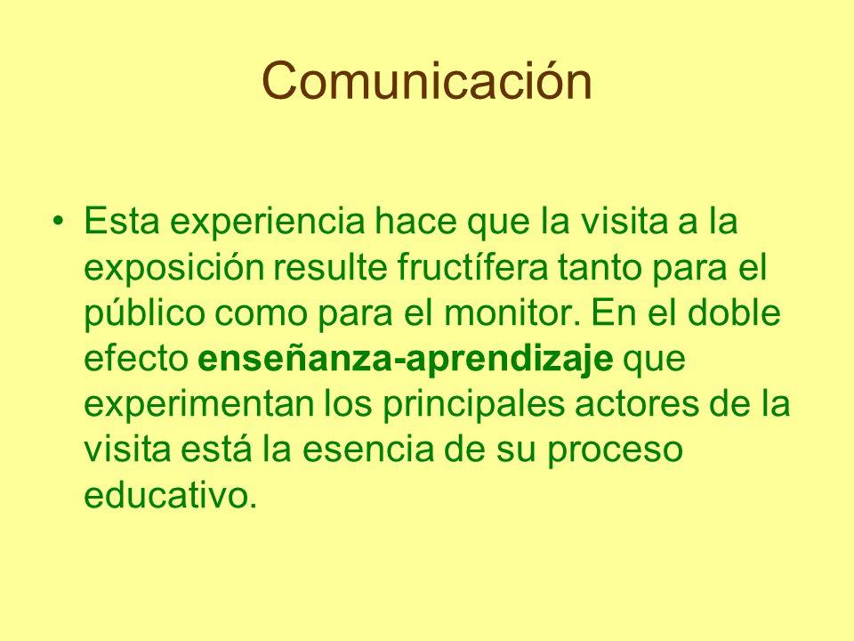 Comunicación Esta experiencia hace que la visita a la exposición resulte fructífera tanto para el público como para el monitor. En el doble efecto ens