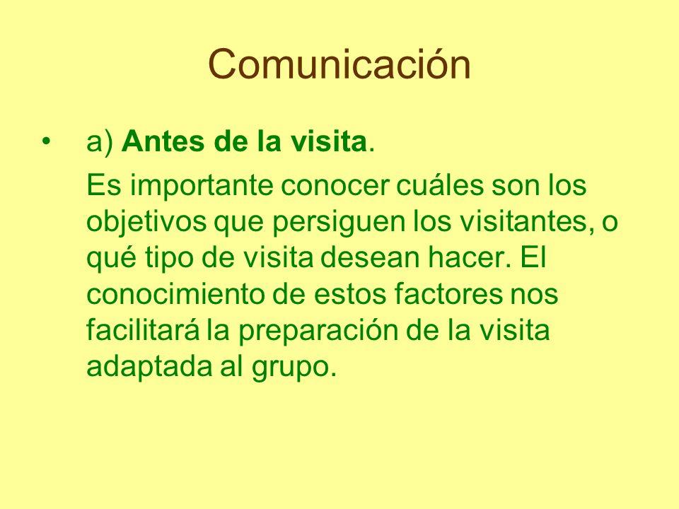 Comunicación a) Antes de la visita. Es importante conocer cuáles son los objetivos que persiguen los visitantes, o qué tipo de visita desean hacer. El