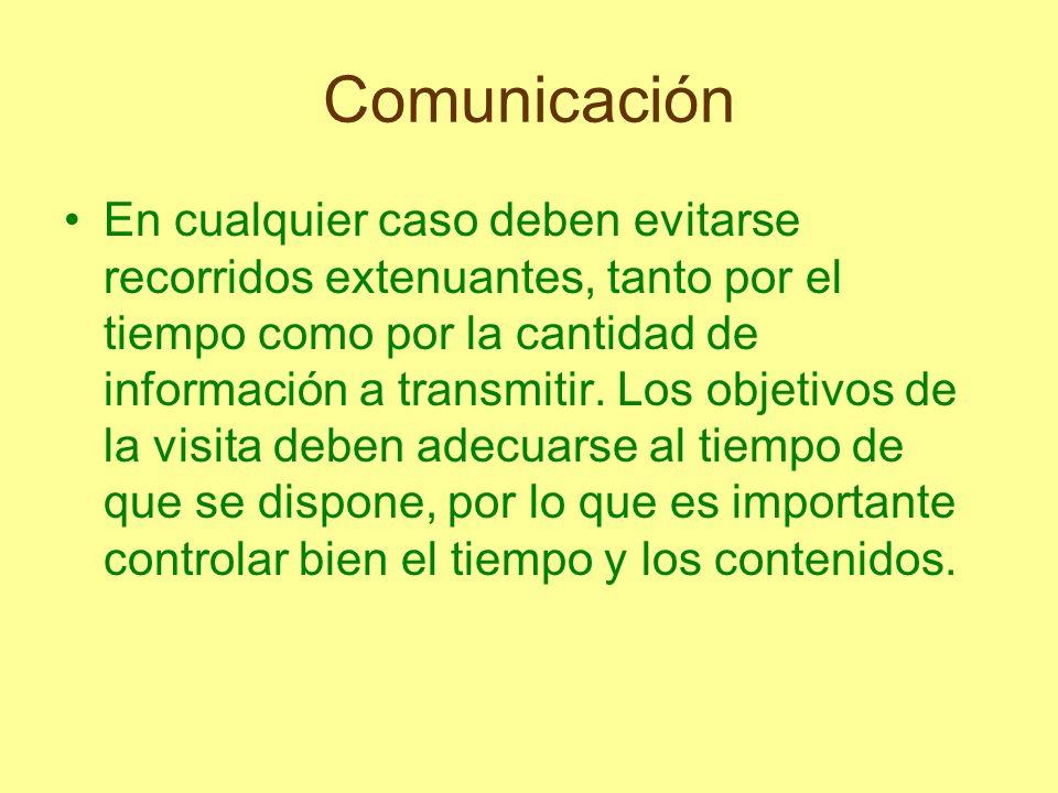Comunicación En cualquier caso deben evitarse recorridos extenuantes, tanto por el tiempo como por la cantidad de información a transmitir. Los objeti