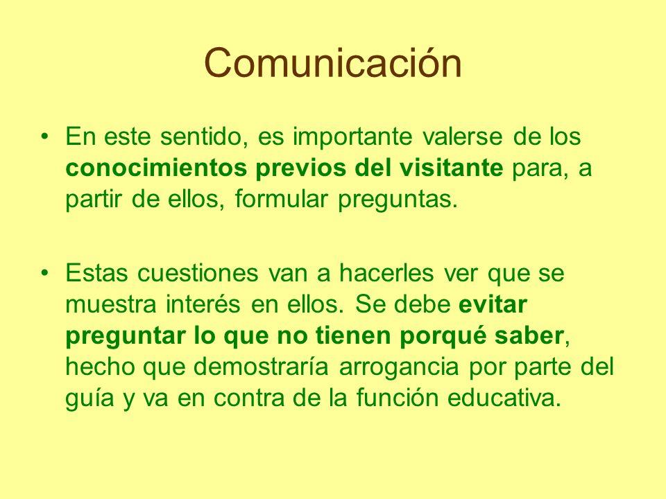Comunicación En este sentido, es importante valerse de los conocimientos previos del visitante para, a partir de ellos, formular preguntas. Estas cues