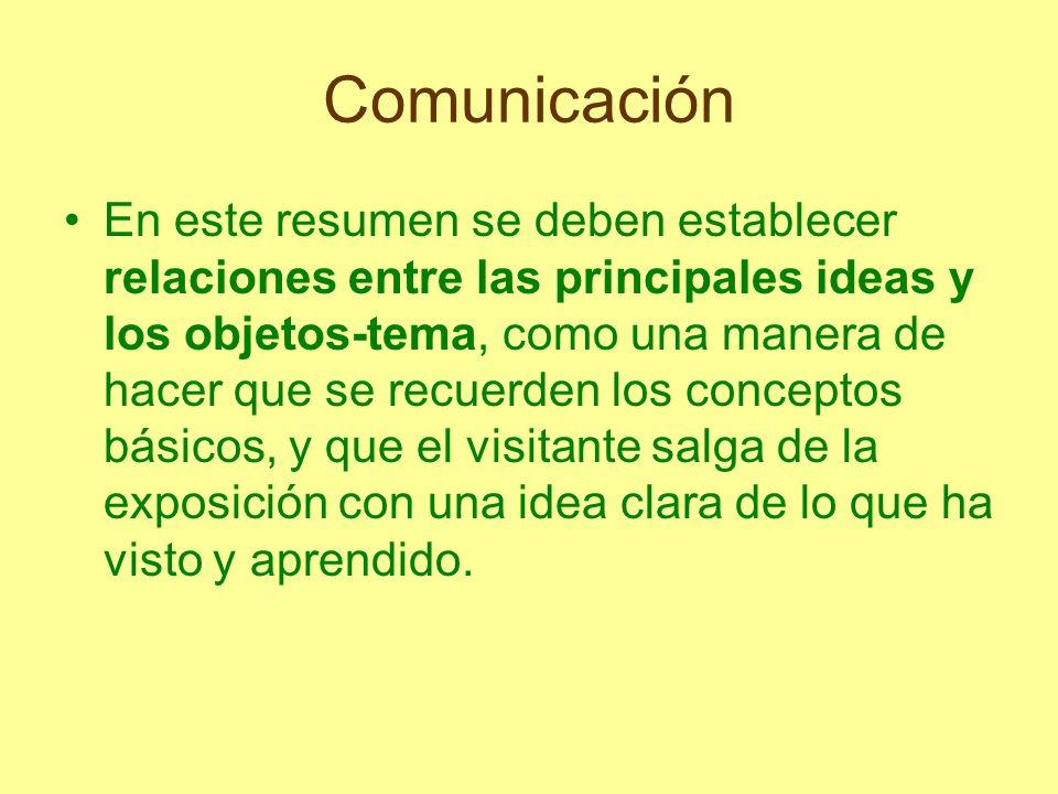 Comunicación En este resumen se deben establecer relaciones entre las principales ideas y los objetos-tema, como una manera de hacer que se recuerden