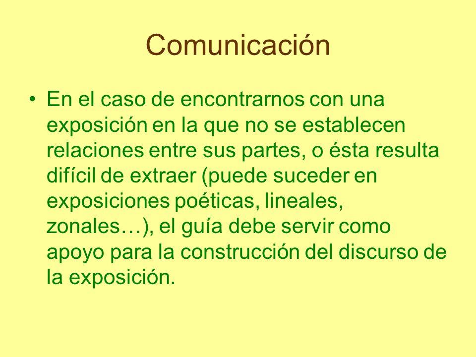 Comunicación En el caso de encontrarnos con una exposición en la que no se establecen relaciones entre sus partes, o ésta resulta difícil de extraer (