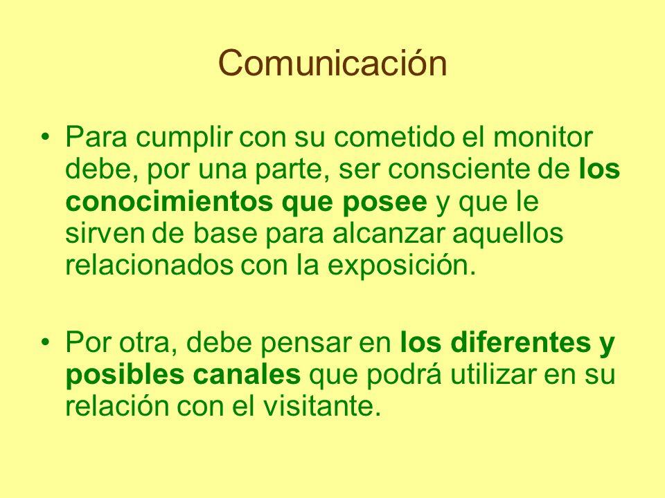 Comunicación Sin embargo, el sentido práctico de la preparación del monitor se consigue con el encuentro con el público, ya que se trata de una actividad que conlleva un diálogo.
