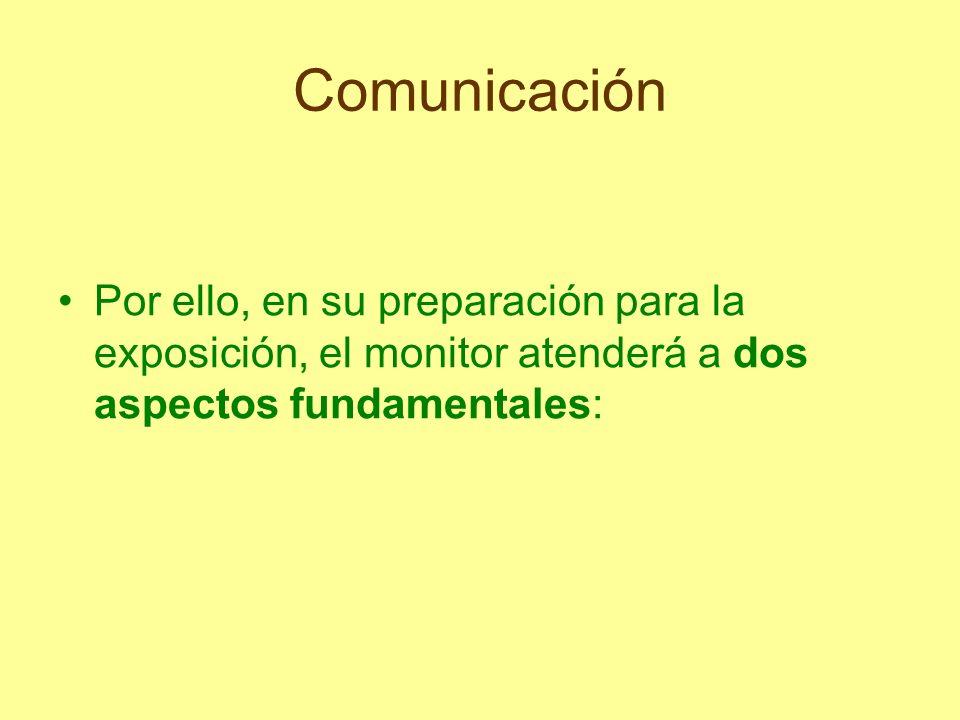 Comunicación Al tiempo que el monitor transmite conocimientos y enseña cómo adquirirlos, recibe nuevas informaciones del público, descubre formas de análisis, puntos de vista, surgen conflictos a resolver…