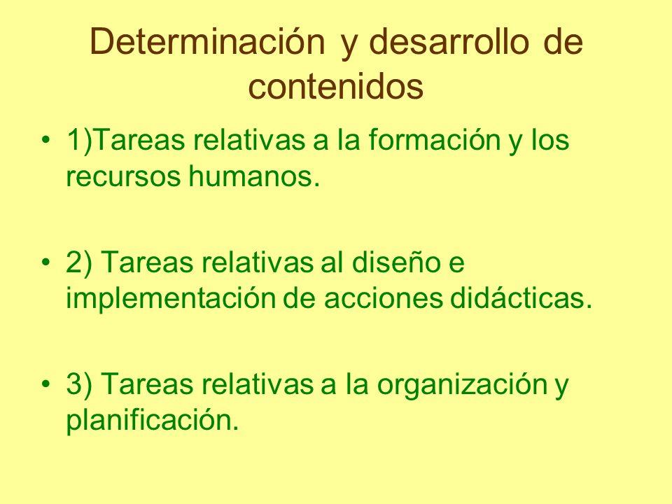 Determinación y desarrollo de contenidos 1)Tareas relativas a la formación y los recursos humanos. 2) Tareas relativas al diseño e implementación de a
