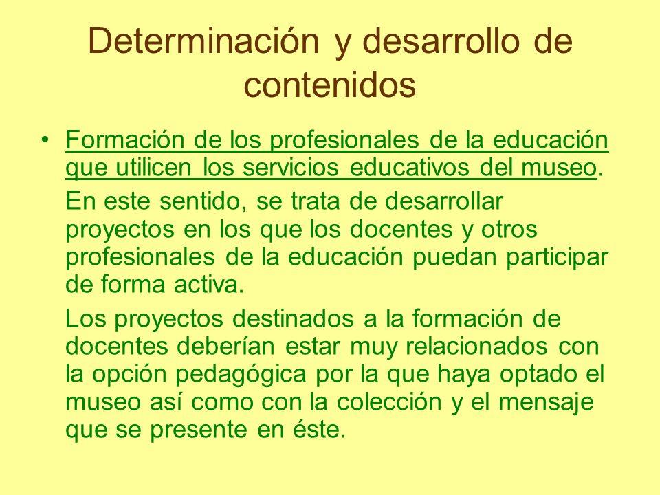 Determinación y desarrollo de contenidos Formación de los profesionales de la educación que utilicen los servicios educativos del museo. En este senti