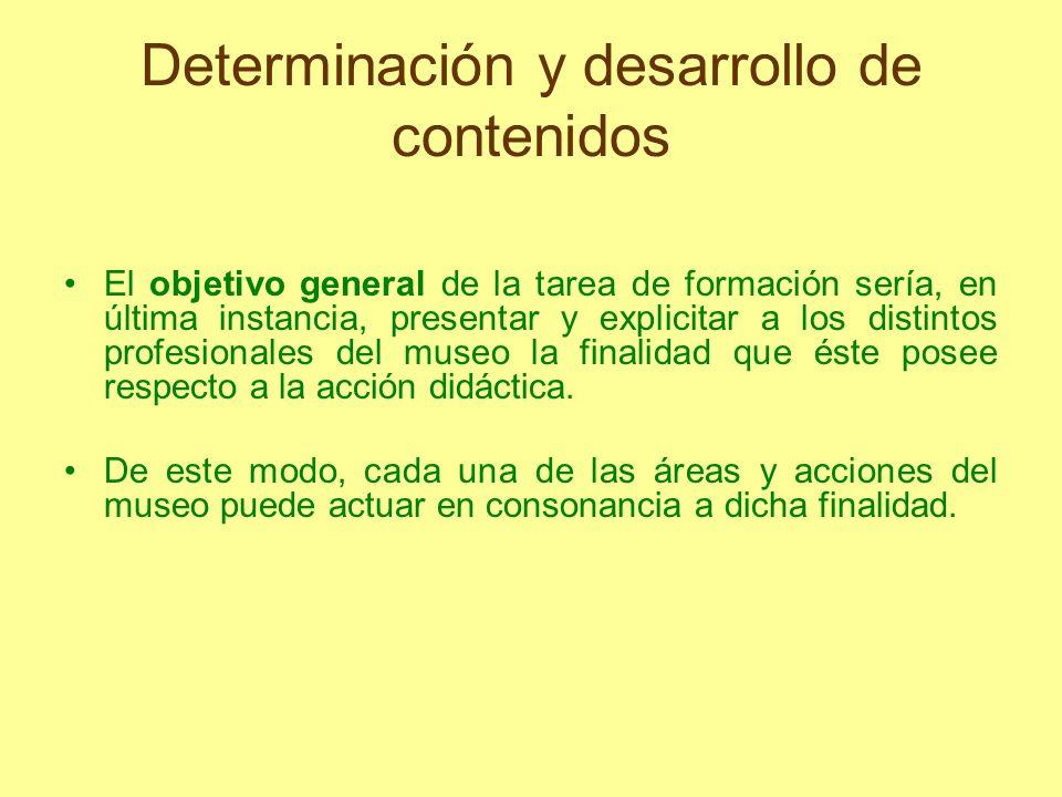 Determinación y desarrollo de contenidos El objetivo general de la tarea de formación sería, en última instancia, presentar y explicitar a los distint