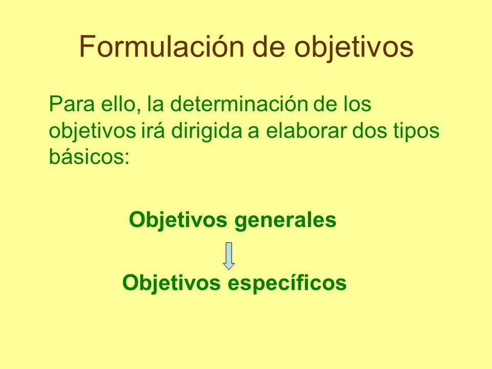 Formulación de objetivos Para ello, la determinación de los objetivos irá dirigida a elaborar dos tipos básicos: Objetivos generales Objetivos específ