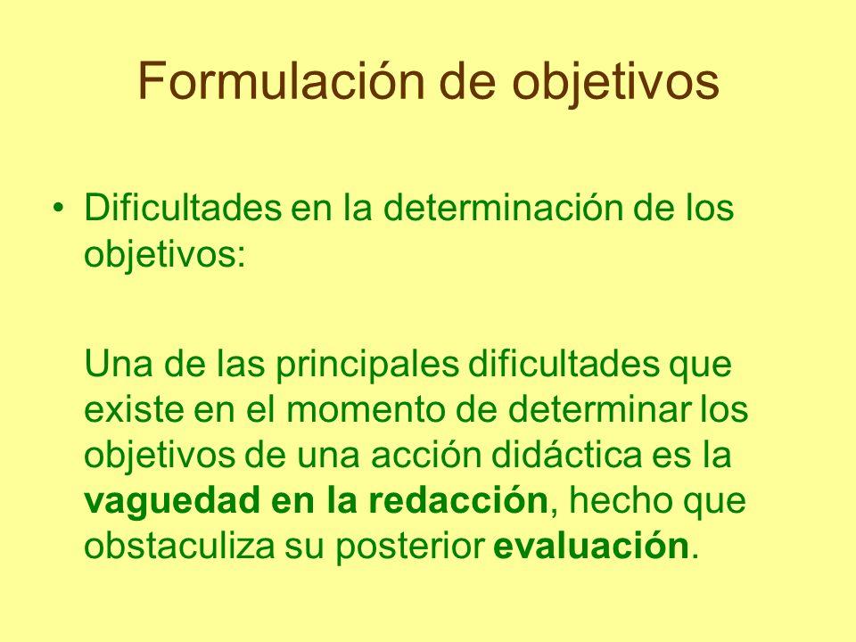 Formulación de objetivos Dificultades en la determinación de los objetivos: Una de las principales dificultades que existe en el momento de determinar