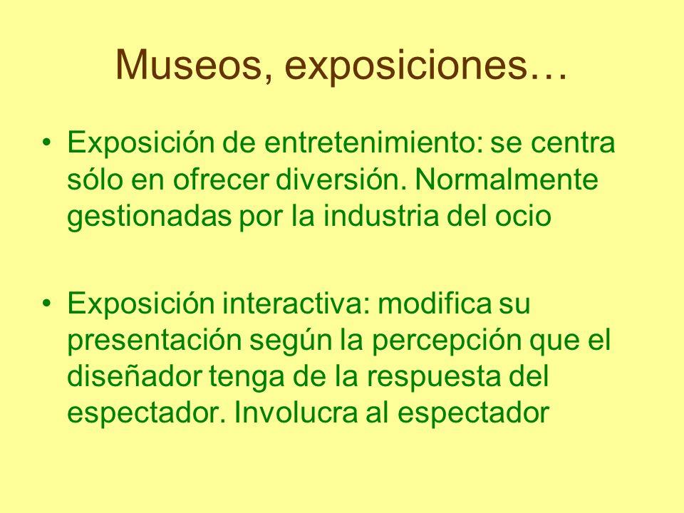 Museos, exposiciones… Exposición de entretenimiento: se centra sólo en ofrecer diversión. Normalmente gestionadas por la industria del ocio Exposición