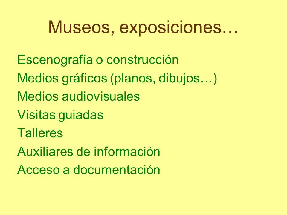 Museos, exposiciones… Escenografía o construcción Medios gráficos (planos, dibujos…) Medios audiovisuales Visitas guiadas Talleres Auxiliares de infor