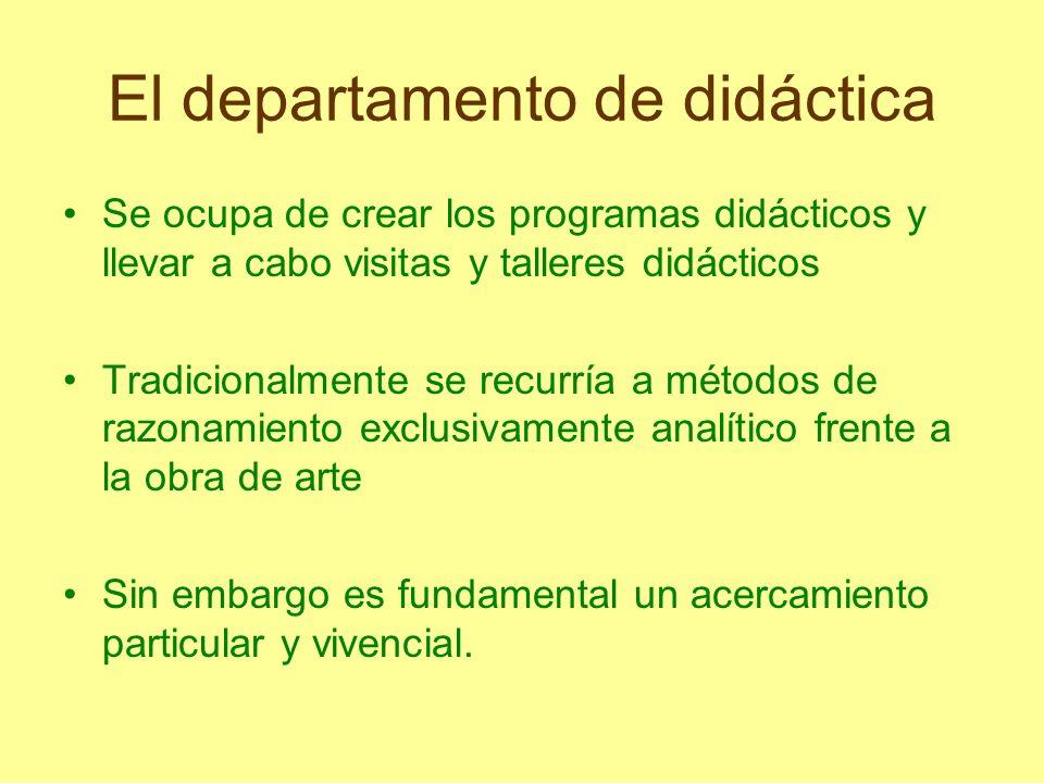 El departamento de didáctica Se ocupa de crear los programas didácticos y llevar a cabo visitas y talleres didácticos Tradicionalmente se recurría a m
