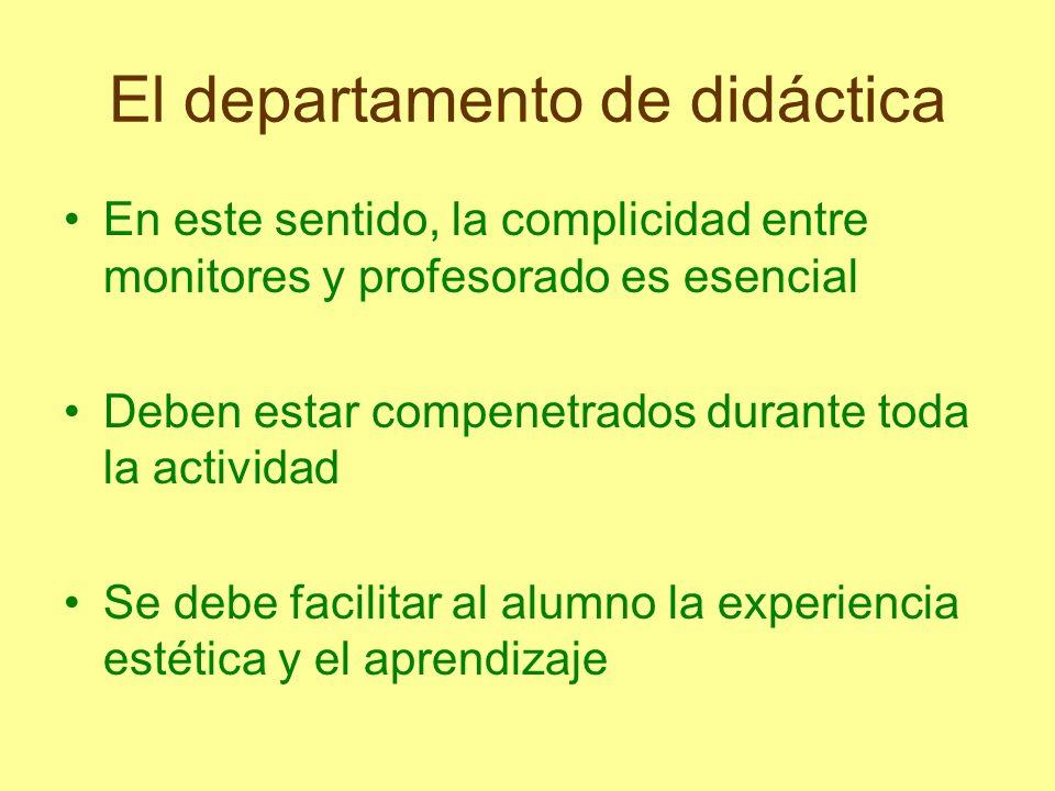 El departamento de didáctica En este sentido, la complicidad entre monitores y profesorado es esencial Deben estar compenetrados durante toda la activ